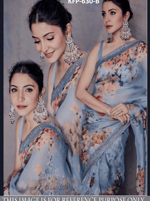 designer collection, anushka sharma saree, gray saree, digital printed saree, lace work saree