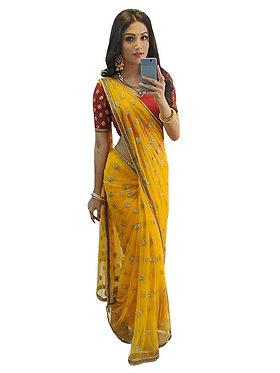 Donal Bisht Pure Silk Yellow Replica Saree