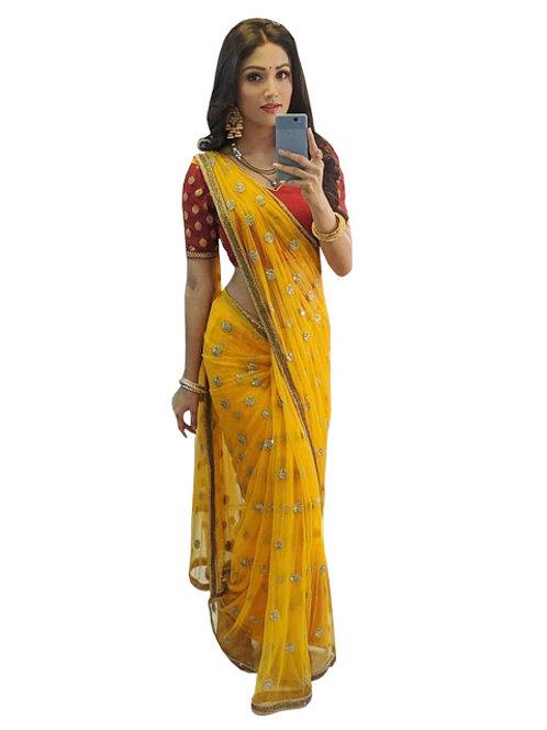 latest designer saree, yellow saree, Donal bisht Replicaa saree, net saree, red blouse, embroidery work saree