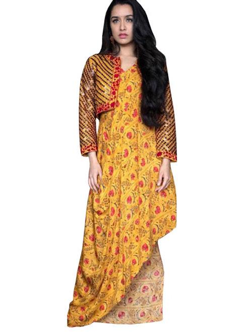 latest designer replica shradhha kapoor yellow printed kurti, under 1000, koti kurti, casual stylish kurti