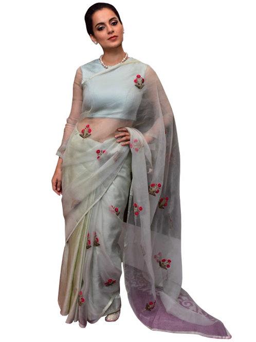 designer replica saree, kangna ranaut saree, gray saree, paper silk saree, embroidery saree, new collection, plain blouse