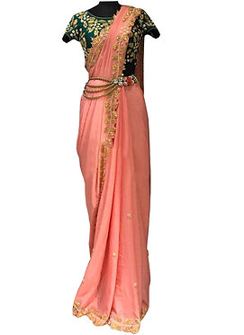 Buy Chanderi Silk Peach Heavy Replica Saree