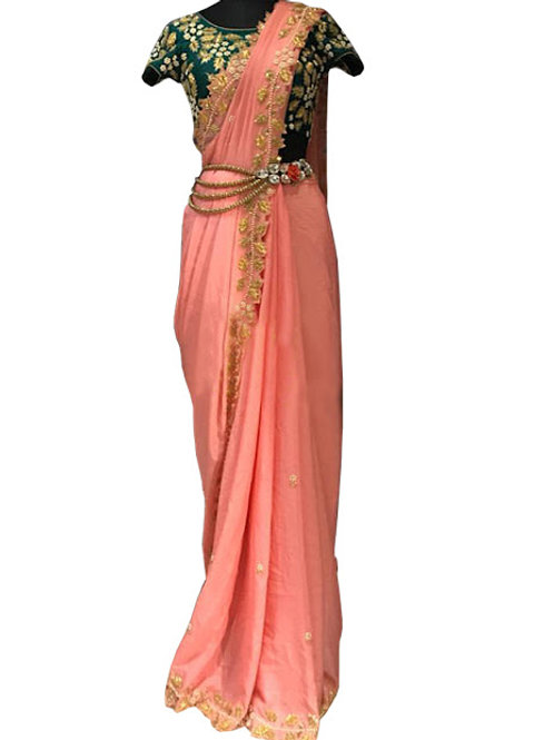 new collection, peach saree, lace work, work blouse, casual wear, party wear, sleeveless blouse