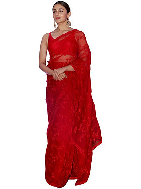 Alia Bhatt Nylon Net Red Replica Saree