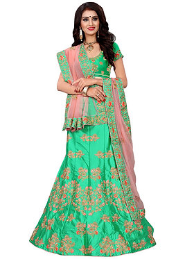 Latest Silk Rama Green Heavy Lehenga Choli
