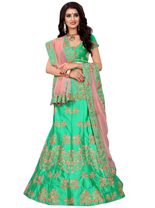 latest collection, green lehenga choli, embroidery work, high quality, bride collection, high demanding