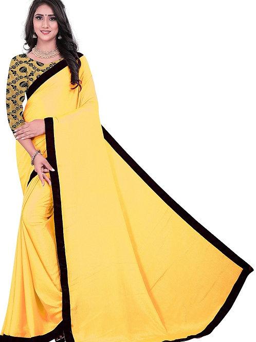 latest plain saree, yellow saree with Jaccard blouse, lace saree, casual saree, saree under 500