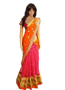 Buy Orange & Pink Georgette Replica Saree