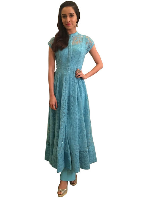 new latest designer Shraddha Kapoor sky blue kurti, replica kurti, thread work, under 1000 party wear, pure cotton kurti,
