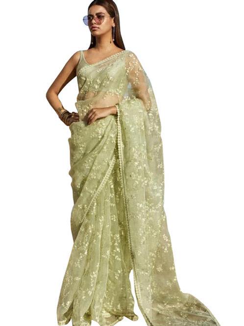 designer saree, replica Alia bhatt saree, red saree, thread work saree, Red blouse, party wear
