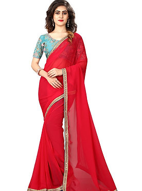 Buy Georgette Pink Bollywood Replica Saree