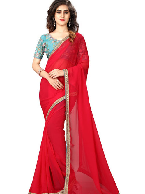 new collection, pink georgette saree, lace work, work blouse, under 1000, plain saree, casual saree