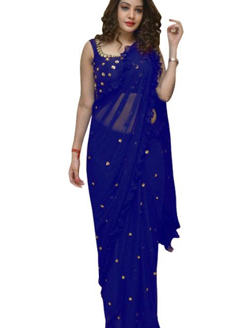 designer saree, blue saree, georgette saree, sequence saree, blue blouse, work blouse, trending saree, demanding sare
