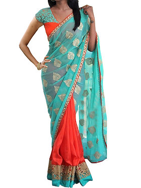 New Georgette Sky Blue & Orange Designer Saree