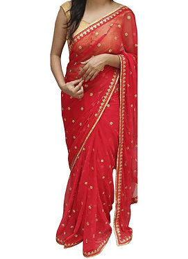 Buy Georgette Red Bollywood Replica Saree