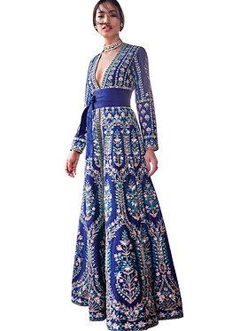 Buy Taffeta Silk Blue Bollywood Replica Gown