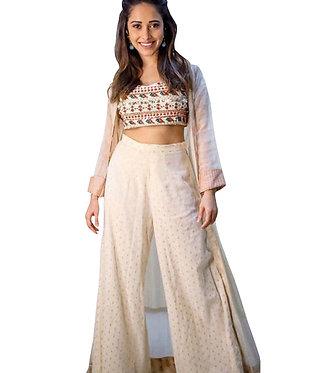 Nushrat Bharucha Chanderi Silk With Viscose Cream And White Kurti Style Palazzo
