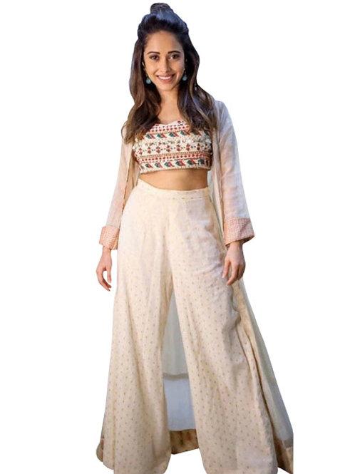 latest designer replica nushrat bharucha stylish kurti, classy high demand, plazzo, koti, white kurti