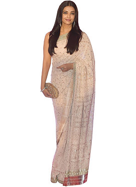 Sonam Kapoor Cream Nylon Mono Net Replica Saree