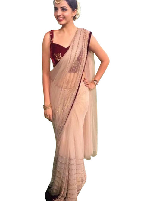 Designer collection, replica saree, shrenu parekh saree, nylon net saree, cream saree, velvet maroon blouse, embroidery work