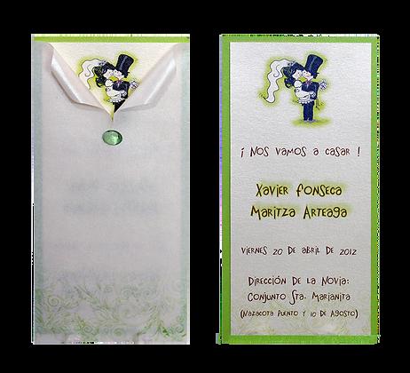 Tarjeta de invitación para Boda en Quito