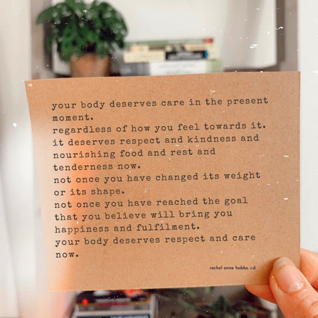 Your body deserves care in the present moment