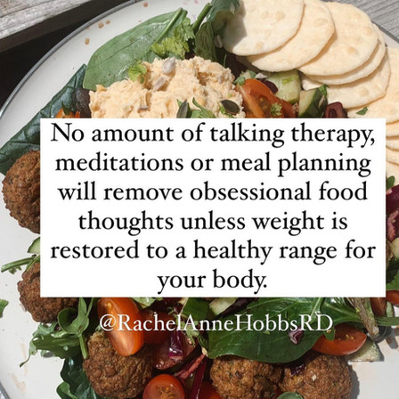 Obsession food thoughts are only resolved via weight restoration