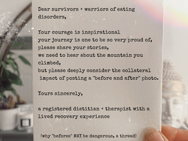 "Dear survivors of eating disorders, please consider this before posting ""before"" photographs"
