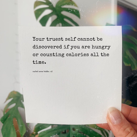 Your truest self cannot be discovered if you are hungry all the time