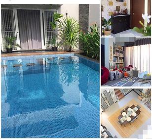 kolam berenang  dan ruang dalam rumah