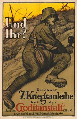 Affiche voor de verkoop van oorlogsobligaties