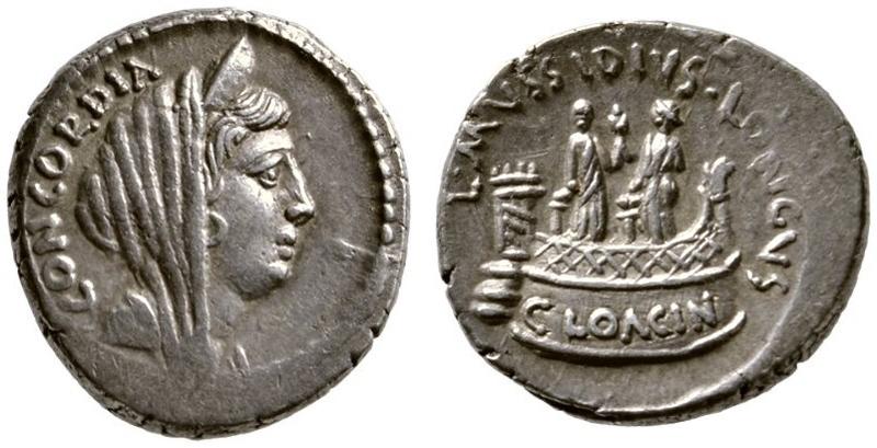 Denar, 42 v. Chr., Rom. Quelle: Numismatik Lanz, Auktion 163, 07.12.2016, Nr. 257.