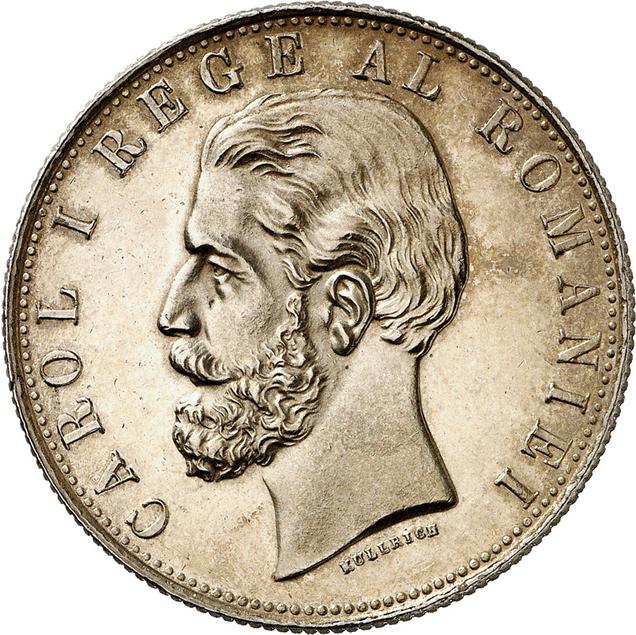 Nr. 2350: Rumänien. Karl I., 1866-1914. 5 Lei 1881 Bukarest. In dieser Erhaltung sehr selten. Polierte Platte, berieben. Taxe: 7.500,- Euro
