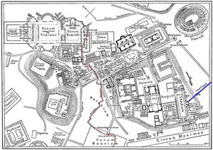 Plan des antiken Rom mit dem Verlauf der Cloaca Maxima, Quelle: Wikipedia.