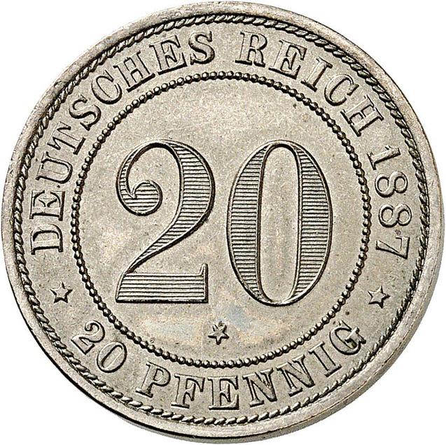 Nr. 6505: Deutsches Kaiserreich. 20 Pfennig 1887 E. Nur 50 Exemplare geprägt. Stempelglanz Taxe: 8.000,- Euro