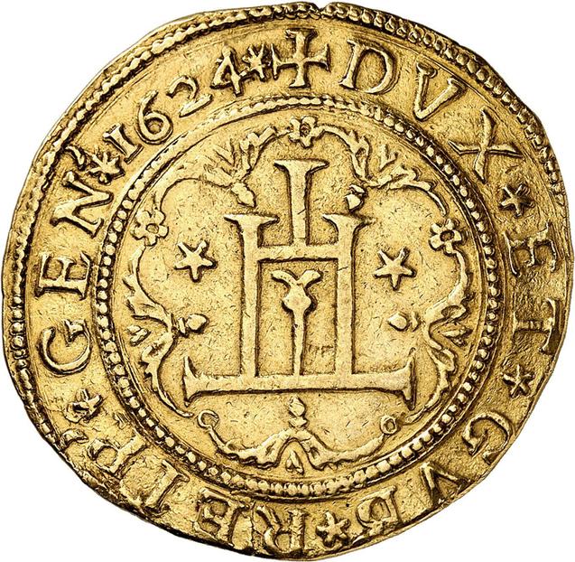 Nr. 5206: Genua, Republik. 10 Scudi 1624. Wohl einziges bekanntes Exemplar im Handel. Etwas beschnitten. Sehr schön Taxe: 100.000,- Euro