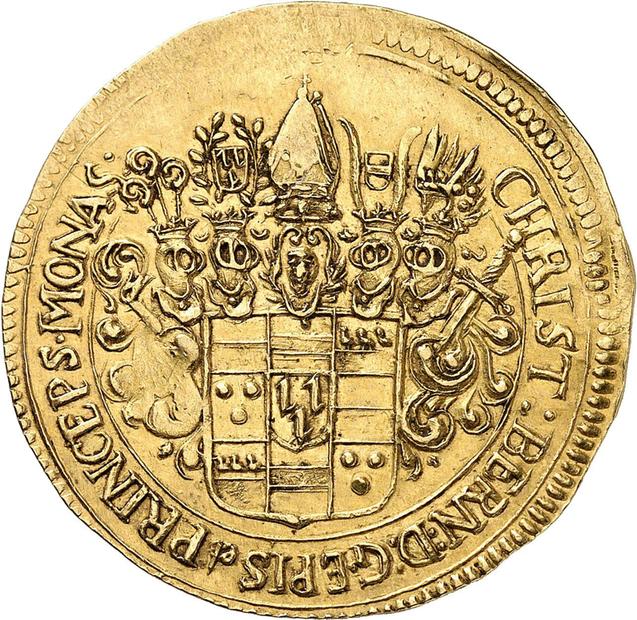 Nr. 3949: Münster. Christoph Bernhard von Galen, 1650-1678. 3 Dukaten o. J. (1661-1678), Münster. Aus Auktion Schulman 260 (1975), Nr. 1569. Nur 7 Exemplare bekannt. Taxe: 15.000,- Euro