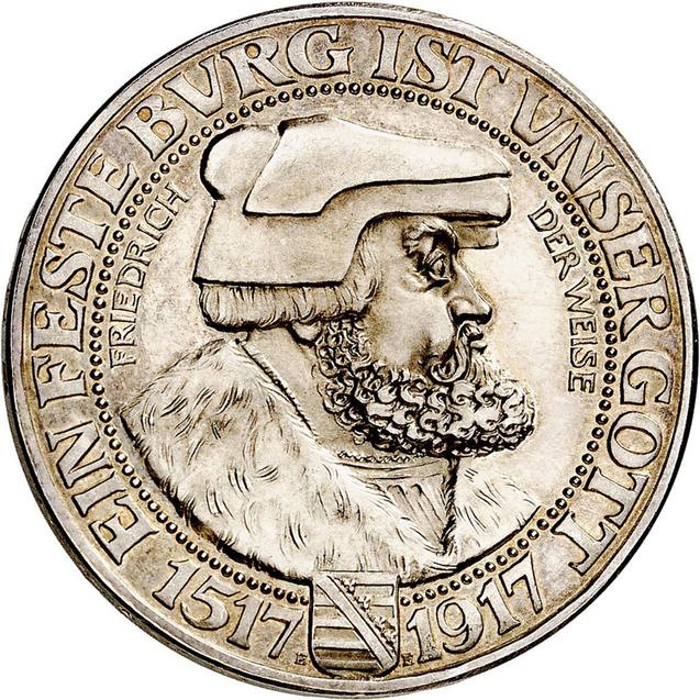 Nr. 6791: Deutsches Kaiserreich. Sachsen. Friedrich August III., 1904-1918. Friedrich der Weise. 3 Mark 1917 E. Sehr selten. Polierte Platte Taxe: 75.000,- Euro