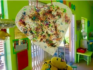Wax Paper Hanging Hearts