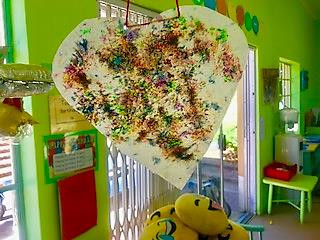 Wax Paper Hanging Hearts