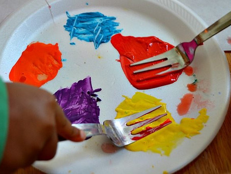 Children's printing artworks with kitchen utensils
