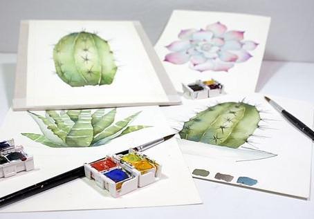 ACUARELAS BOTÁNICAS - cactus y suculentas