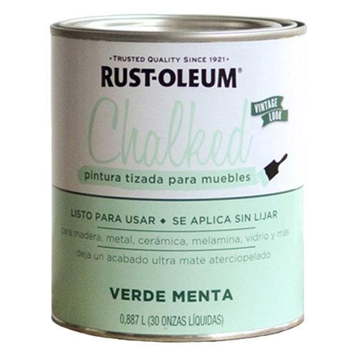 Pintura Tizada Chalk Paint Brochable Verde Menta 0,887 L Chalked Rust Oleum