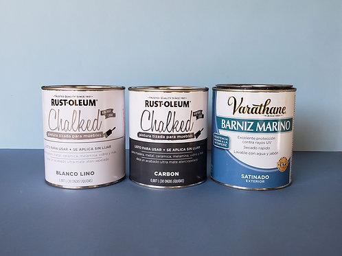 Pack Pintura Tizada Chalk Paint Brochable  +Laca Poliuretano De Exterior