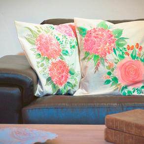 IDEAS para PINTAR ALMOHADONES- Diseño Floral