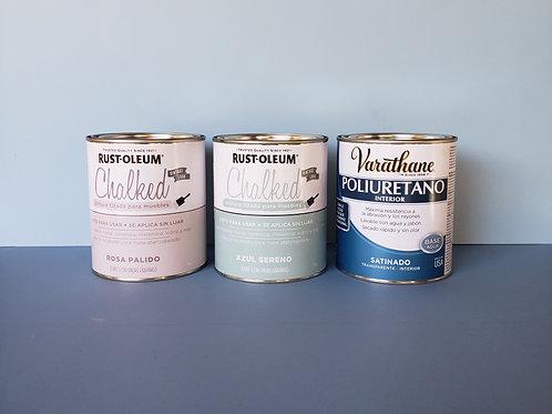 Pack Pintura Tizada Chalk Paint Brochable + Laca Poliuretano De Interior