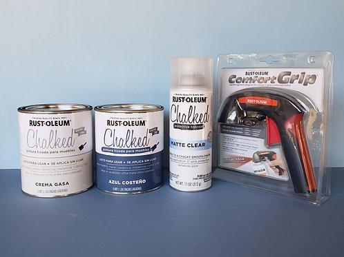 Pack Pintura Tizada Chalk Paint Brochable + Pintura Protectora Transparente