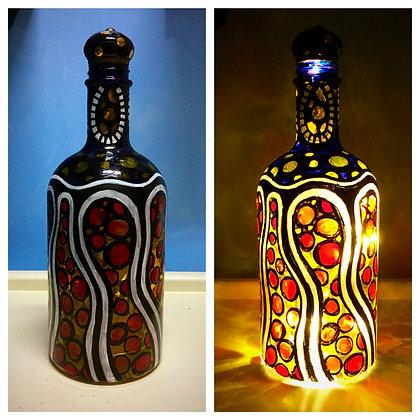 Modern Stained-Glass Design Bottle Lamp