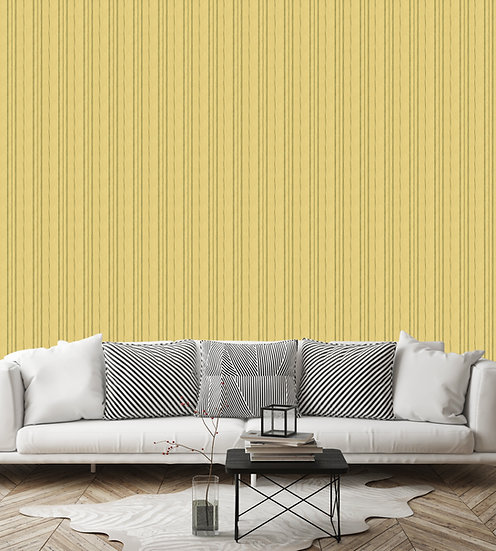 yellow wallpaper with green stripe installed in living room