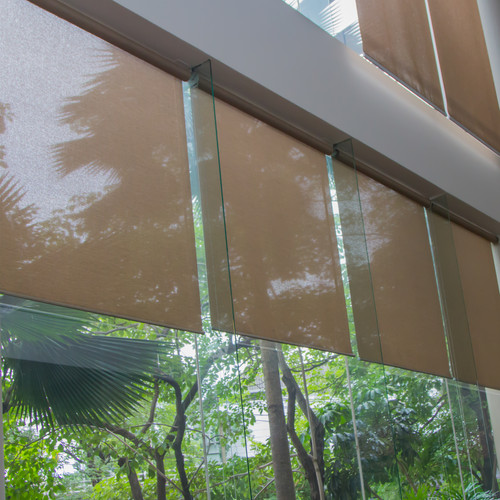 brown sunscreen roller blinds